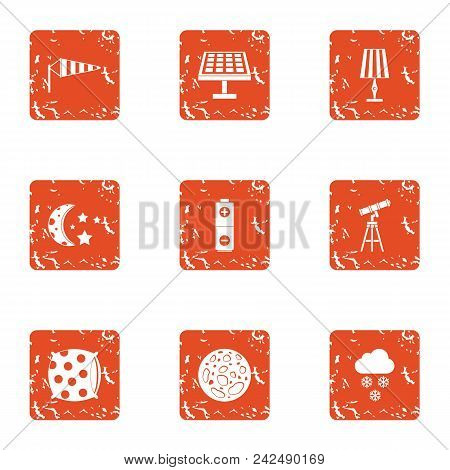 Celestial icons set. Grunge set of 9 celestial vector icons for web isolated on white background poster