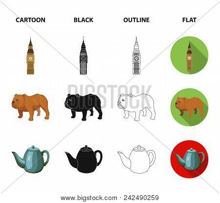 Breed Dog, Teapot, Brewer .england Country Set Collection Icons In Cartoon, Black, Outline, Flat Sty