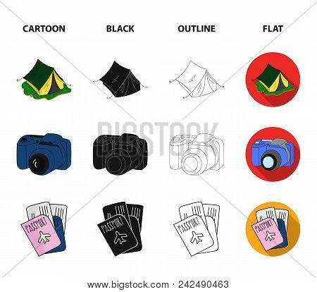 Vacation, Photo, Camera, Passport .family Holiday Set Collection Icons In Cartoon, Black, Outline, F