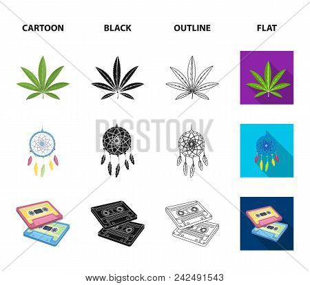 Amulet, Hippie Girl, Freedom Sign, Old Cassette.hippy Set Collection Icons In Cartoon, Black, Outlin