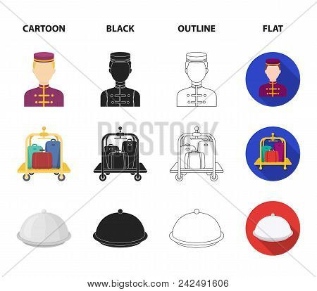 Trolley With Luggage, Safe, Swimming Pool, Clutch.hotel Set Collection Icons In Cartoon, Black, Outl
