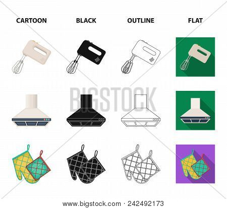 Kitchen Equipment Cartoon, Black, Outline, Flat Icons In Set Collection For Design. Kitchen And Acce