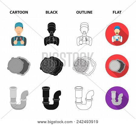Sewage Hatch, Tool, Radiator.plumbing Set Collection Icons In Cartoon, Black, Outline, Flat Style Ve