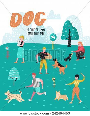 People Training Dogs In The Park. Dog Poster, Banner. Characters Walking Outside With Pets. Vector I