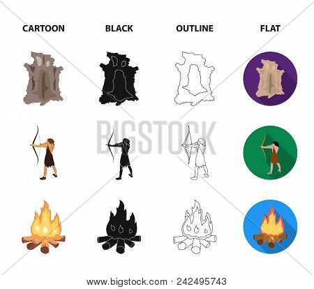 Man, Hunter, Onion, Bonfire .stone Age Set Collection Icons In Cartoon, Black, Outline, Flat Style V