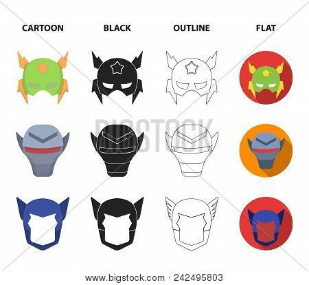Helmet, Mask On The Head.mask Super Hero Set Collection Icons In Cartoon, Black, Outline, Flat Style