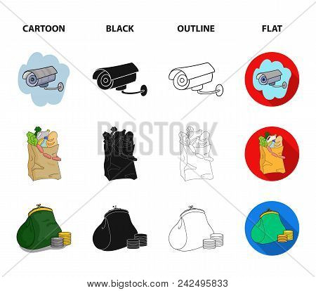 Sausages, Fruit, Cart .supermarket Set Collection Icons In Cartoon, Black, Outline, Flat Style Vecto