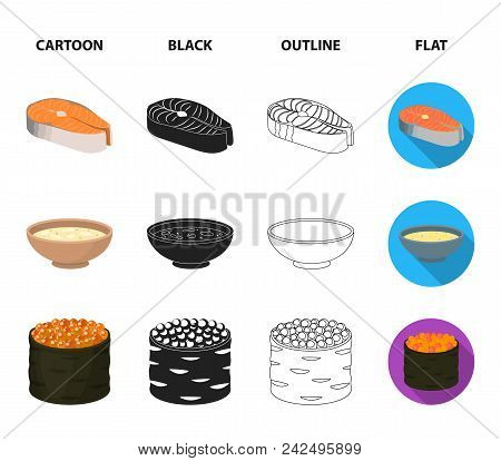 Bowl Of Soup, Caviar, Shrimp With Rice. Sushi Set Collection Icons In Cartoon, Black, Outline, Flat