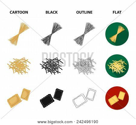 Different Types Of Pasta. Types Of Pasta Set Collection Icons In Cartoon, Black, Outline, Flat Style