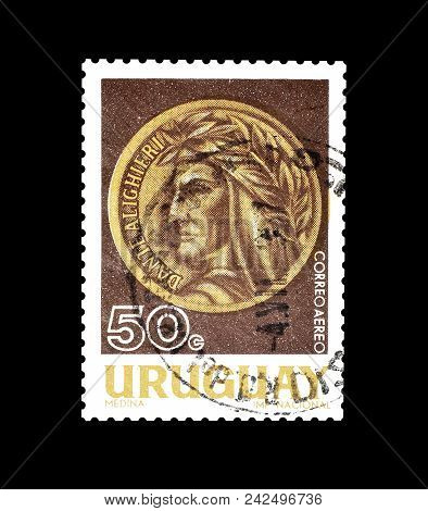 Uruguay - Circa 1966 : Cancelled Postage Stamp Printed By Uruguay, That Shows Portrait Of Dante Alig