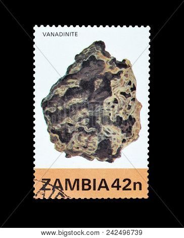 Zambia - Circa 1982 : Cancelled Postage Stamp Printed By Zambia, That Shows Mineral Vanadinite.