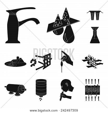 Water Filtration System Black Icons In Set Collection For Design. Cleaning Equipment Vector Symbol S