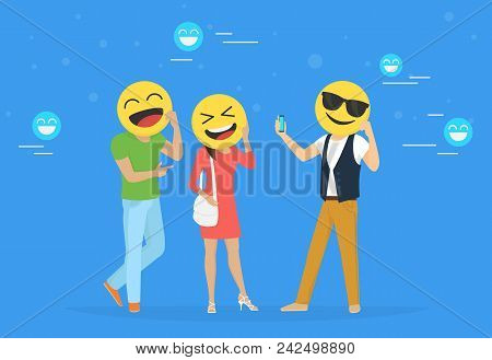 Emoji Heads Concept Vector Illustration Happy Men And Women Hold Emoji Heads And Take Photos For Net