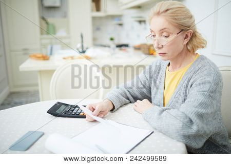 Aged woman checking all bills for the last month while trying to calculate expenses