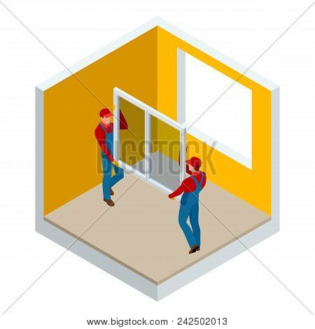 Isometric Installation Of Windows In The House Or Apartment Concept. Two Workers In Blue Work Clothe
