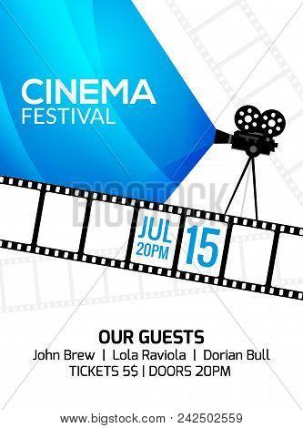 Cinema Festival Poster Template. Vector Camcorder And Line Videotape Illustration. Movie Festival Ar