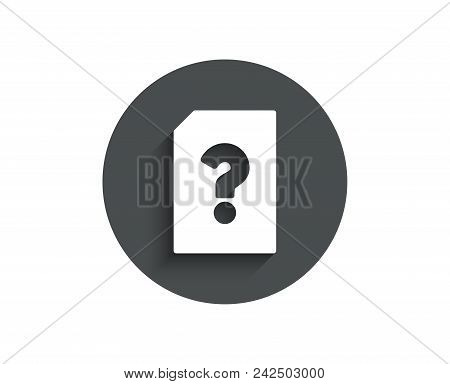 Unknown Document Simple Icon. File With Question Mark Sign. Untitled Paper Page Concept Symbol. Circ