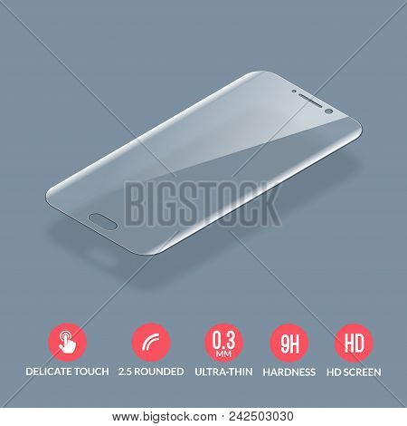 Glass screen protector. Vector screen protector for smartphone. Mobile cover accessory for display. poster