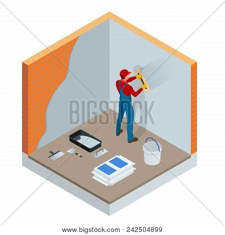 Isometric Plasterer Renovating Indoor Walls And Ceilings With Float And Plaster. Construction Finish