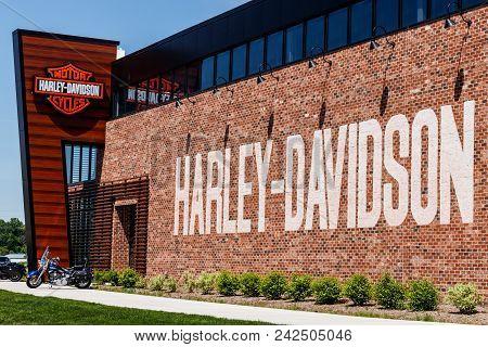 Indianapolis - Circa May 2018: Harley-davidson Local Dealership. Harley Davidsons Motorcycles Are Kn