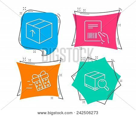 Set Of Present Delivery, Parcel Invoice And Package Icons. Search Package Sign. Shopping Service, De
