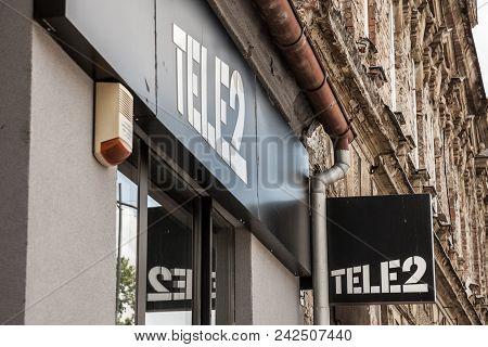 Osijek, Croatia - May 12, 2018: Logo Of Tele2 Sign On Their Local Shop In Osijek. Tele 2 Is A Europe