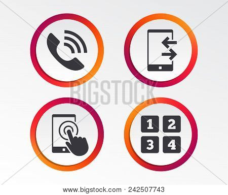 Phone Icons. Touch Screen Smartphone Sign. Call Center Support Symbol. Cellphone Keyboard Symbol. In