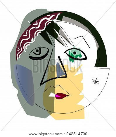 Hand Drawing Girl Face In Cubism Style. Eps 10