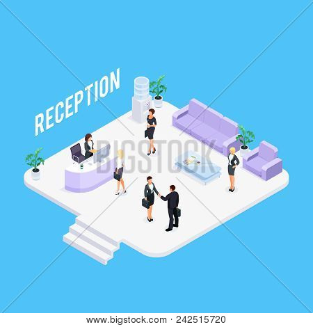 Isometric Reception Concept Isolated On A Blue Background. 3d Reception Room With People And Furnitu