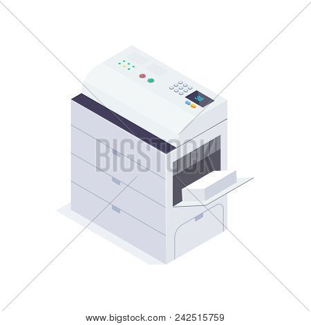 Isometric Office Copier. 3d Photocopier Isolated On White Background. Office Equipment. Vector Illus