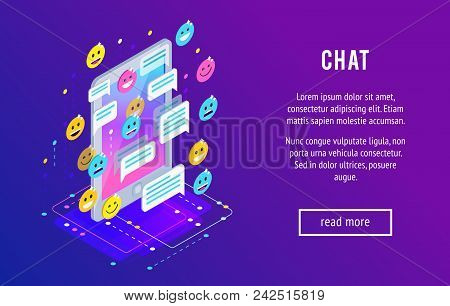 Chating. Isometric Chat Concept With Mobile Phone, Emoji Icons, Message Bubbles. Trendy Isometric Ba