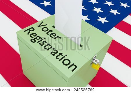 3D illustration of Voter Registration script on a ballot box, with US flag as a background. poster
