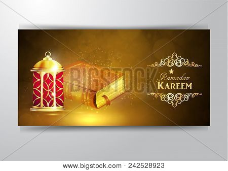 Islamic Religious Book Quran Shareef With Rosary Shining In The Lantern S Light Bokeh Background For