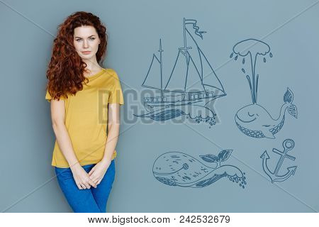 Calm Woman. Beautiful Calm Woman Standing Alone And Feeling Good While Dreaming About Travelling To