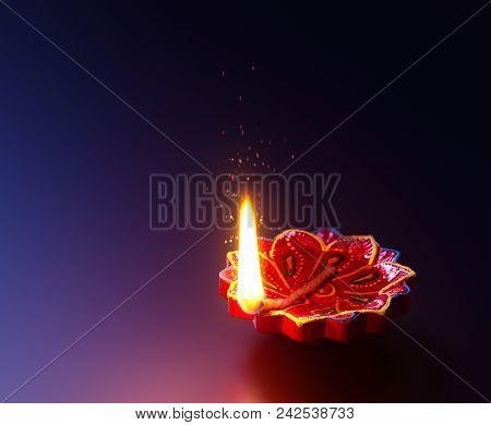 Happy Diwali - Diya Lamp Lit During Diwali Celebration