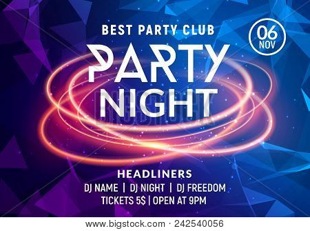 Night Dance Party Music Night Poster Template. Electro Style Concert Disco Club Party Event Flyer In