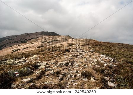Autumn Westernmost Part Of Nizke Tatry Mountains With Red Marked Hiking Trail, Mountain Meadows And