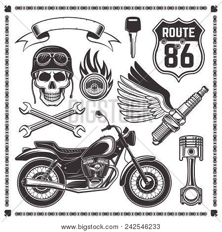 Set Of Motorcycle And Attributes Of Bikers Vector Design Elements In Monochrome Style Isolated On Wh