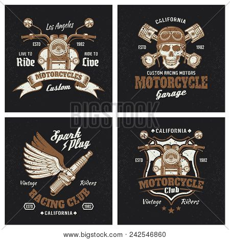 Motorcycle Colored Emblems Or T-shirt Prints On Dark Background. Set Of Four Vintage Recing Club Lab