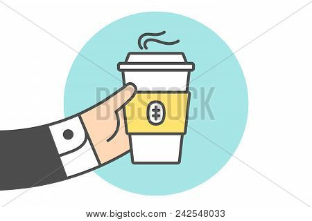 Icon Of Coffee Cup In The Businessman Hand. Coffee Cup In Line Graphic. Hand Of Businessman Holds Th