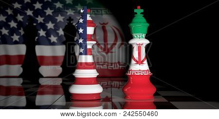 Usa And Iran. Us America And Iran Flags On Chess Kings On A Chess Board. 3D Illustration