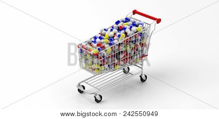 Shopping Cart Full Of Medicine Pills Isolated On White Background. 3D Illustration