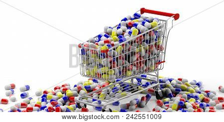 Shopping Cart And Medicine Pills On White Background. 3D Illustration