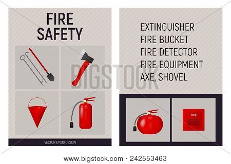 Paper Booklet Fire Safety Concept. Fire Extinguisher, Shovel, Axe, Bucket And Fire Detector. Vector