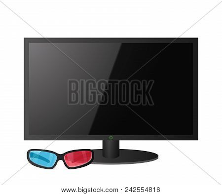 Big Screen Tv. Blue Red 3d Glasses. Home Theater. Vector Illustration.