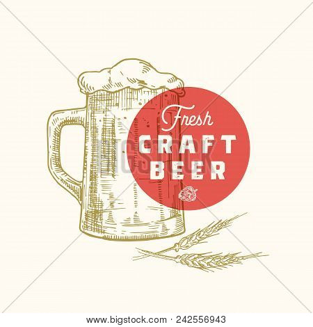 Fresh Craft Beer Abstract Vector Sign, Symbol Or Logo Template. Hand Drawn Retro Beer Mug, Hops And
