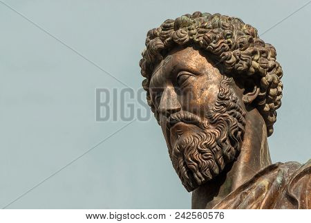 Ancient Statue Of Emperor Marcus Aurelius, A Bronze Replica Of 2nd Century Ad Statue In The Center O