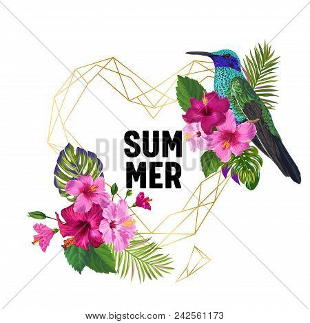Summer Tropical Design With Hummingbird And Exotic Flowers. Floral Background With Golden Frame, Tro