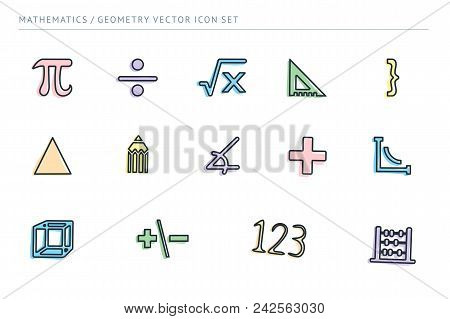 A Set Of Outline Vector Icons On A Theme School Education. Subject Of Mathematics. Ruler, Euglon, Nu
