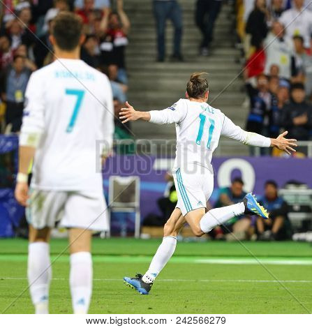 Kyiv, Ukraine - May 26, 2018: Gareth Bale Of Real Madrid Celebrates After Scored A Goal During The U